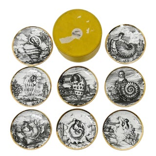 Piero Fornasetti Vintage Cocktail Coasters in Oceanidi Pattern with Original Box