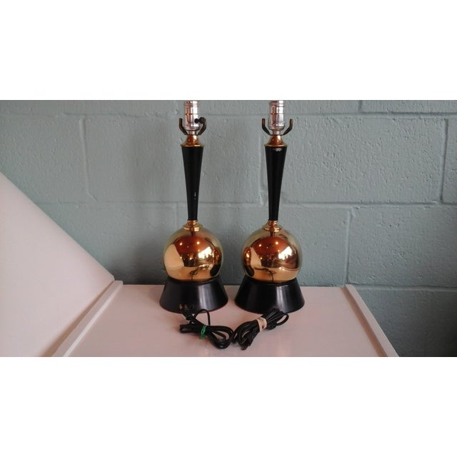 Image of Vintage 1950s Brass Ball Table Lamps - Pair