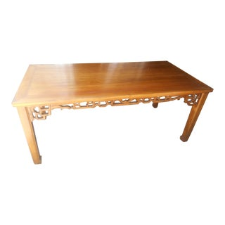 Vintage Asian Inspired Hand Carved Pierced Lattice Dining Table