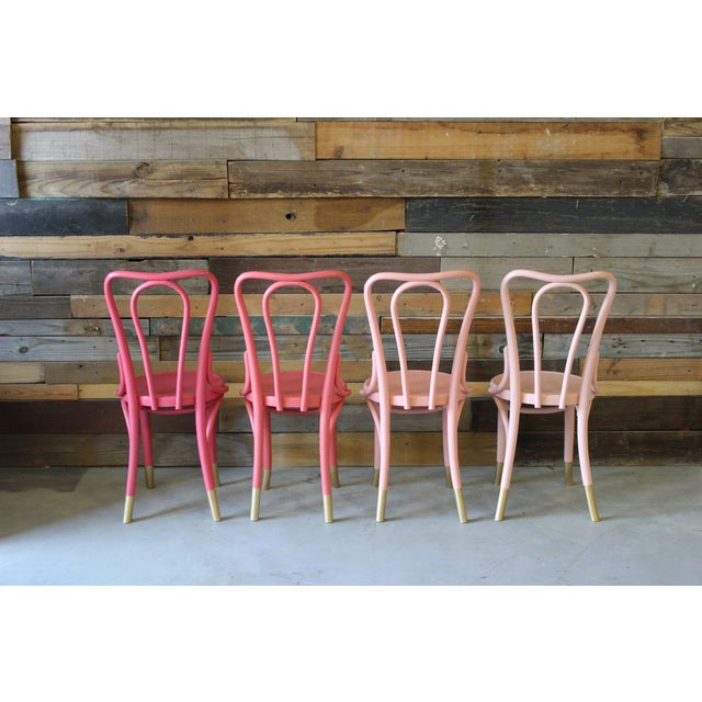 Mid-Century Coral Ombre Bentwood Chairs - Set of 4 - Image 5 of 7