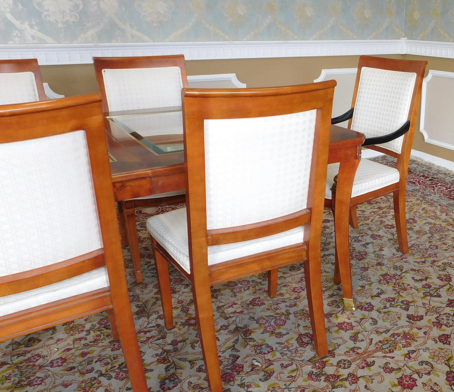 1990s Century Furniture Biedermeier Style Glass Top Walnut Dining Set    Image 3 Of 11