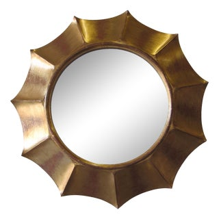 Madeline Stuart Antiqued Glass Gold Sunburst Mirror