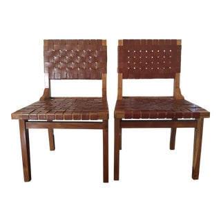 """Anthropologie Leather """"Loom"""" Dining Chairs - a Pair"""