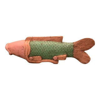 Handcrafted Painted Wood Fish Sculpture Figurine