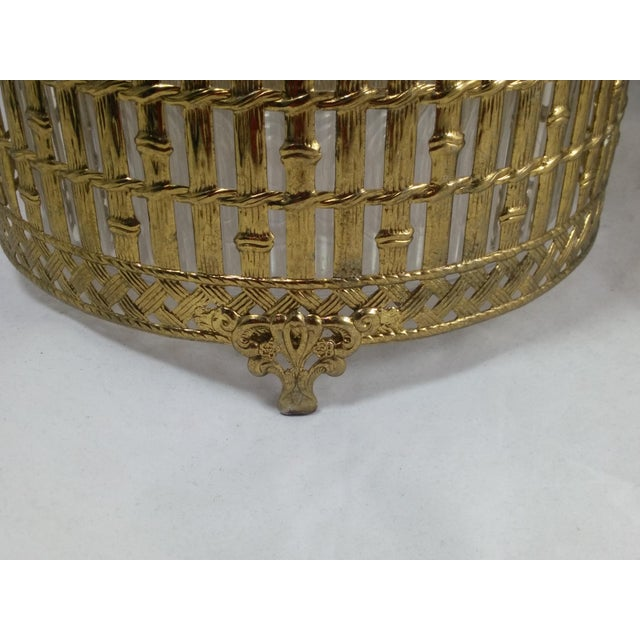 Gold Filigree Chinoiserie Faux Bamboo Waste Basket - Image 4 of 8