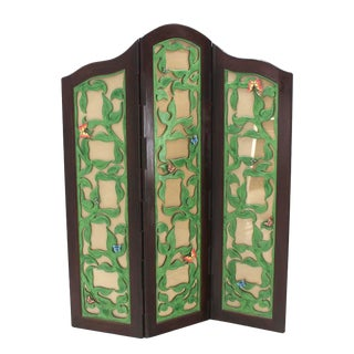 Decorative Carved and Upholstered Screen Room Divider