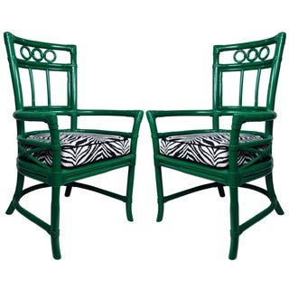 Ficks Reed Green & Zebra Colony Armchairs - a Pair