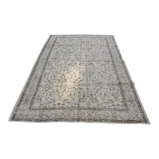 Vintage Handwoven Turkish Beige Oushak Floor Rug - 5′8″ × 8′6″