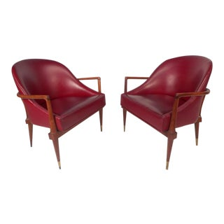 Mid-Century Modern Walnut Side Chairs - A Pair