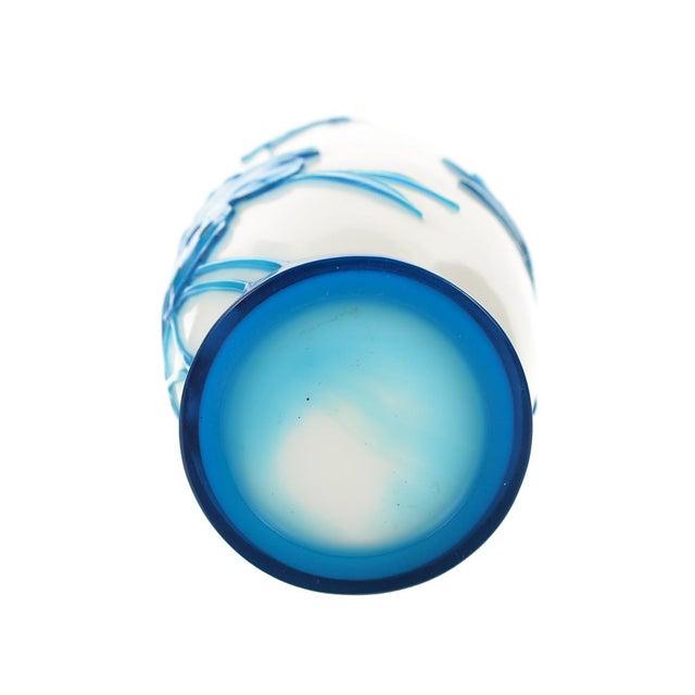 Image of Chinese Peking Glass Blue & White Vases - Pair