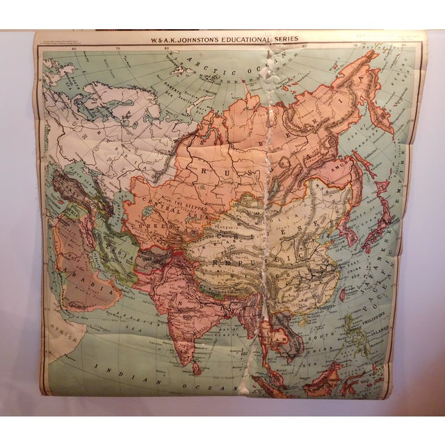 Antique 1922 Linen Educational Maps & Holder - S/5 - Image 7 of 9