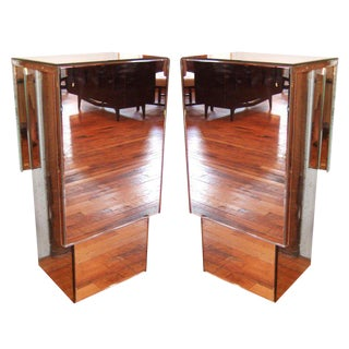 Pair of Mirrored Pedestals