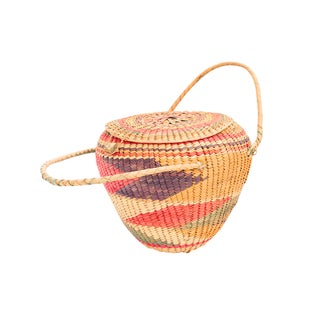 Multi-Colored Woven Basket With Lid
