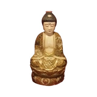 Vintage Hand Painted Gold Gilt Porcelain Buddha