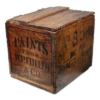 Late 19th/Early 20th c. Wooden Adverstising Box with Leather Hinges c. 1880-1920