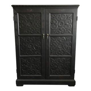 Carved Dark Ebony Wood Cabinet