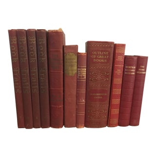 Red Decorative Books - Set of 11