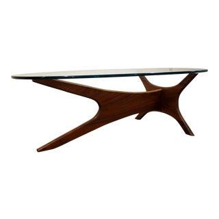 Mid-Century Danish Modern Adrian Pearsall Walnut Glass Top Jacks Coffee Table