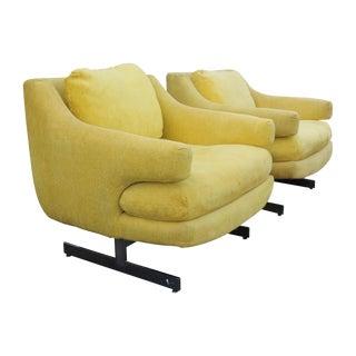 1970s Vintage Milo Baughman Style Yellow Chrome Base Chairs - a Pair