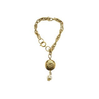 Chanel Vintage Gold Drop Pearl Bracelet