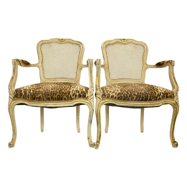 Image of Louis XVI Fauteuil Leopard Print Chairs - A Pair