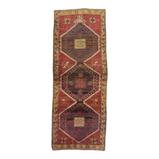Handknotted Vintage Decorative Turkish Runner Rug - 3′5″ × 8′8″