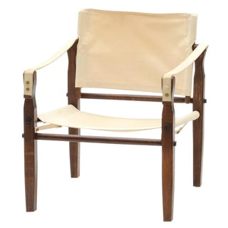 Mid-Century Ivory Safari Chair