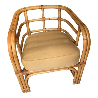 Vintage Paul Frankl Style Rattan Deep Barrel Club Chair