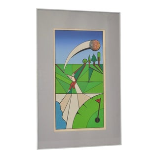 "Vintage Cubist Golf ""A Birdie"" Silkscreen by Herman c.1977"