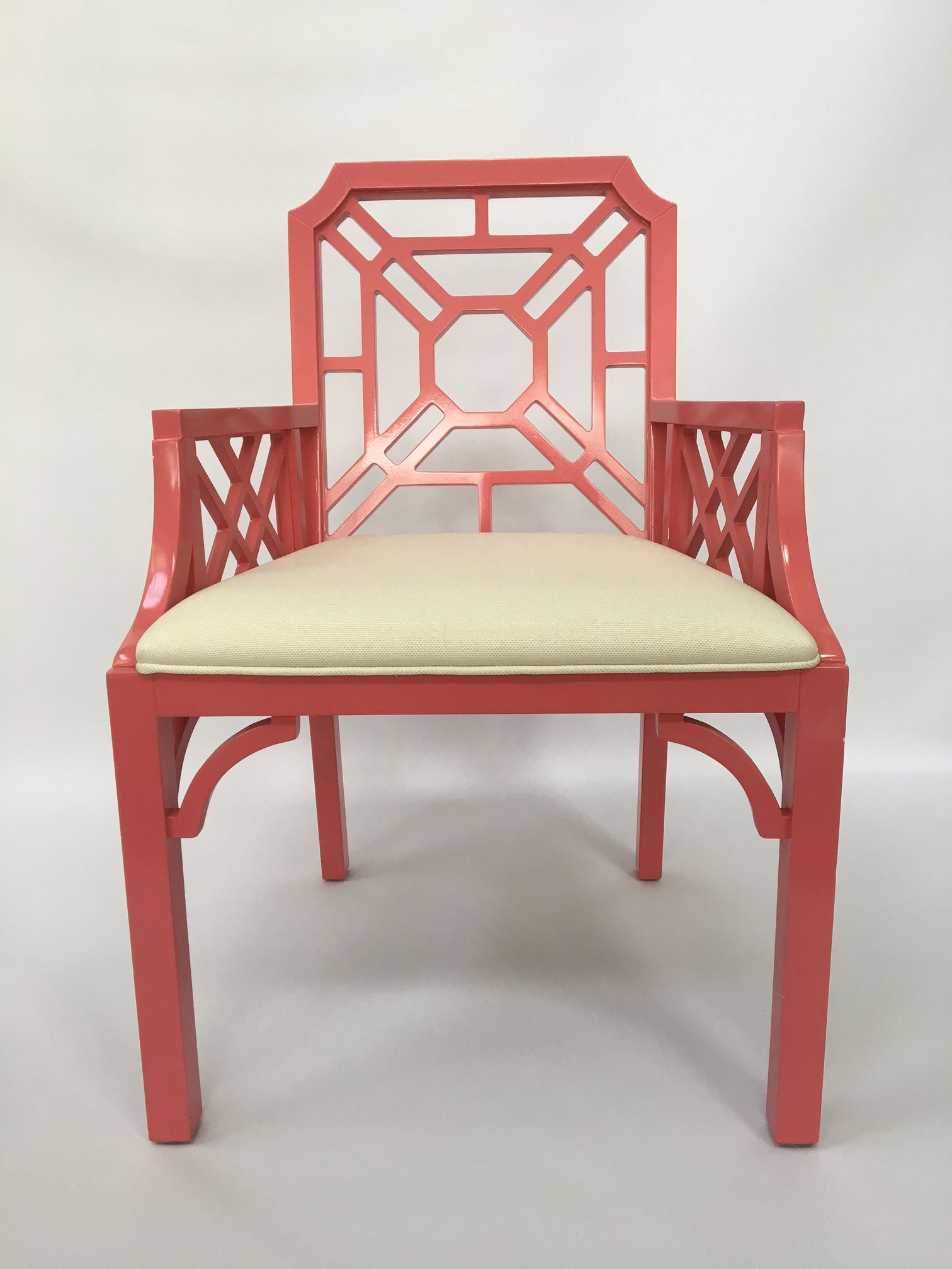 lilly pulitzer pink chinese chippendale chairs a pair image 5 of 7
