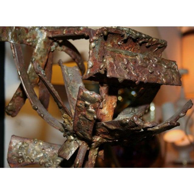 Brutalist Iron & Bronze Sunflower Sculpture Signed Faizman - Image 3 of 7