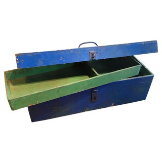 Vintage Painted Workman's Wooden Tool Box