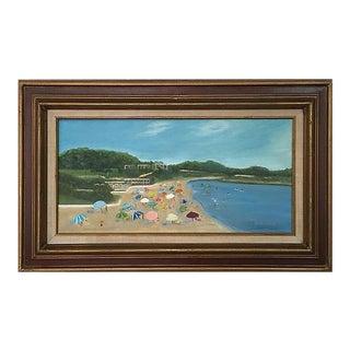 Vintage Beach Scene Original Oil on Canvas Painting