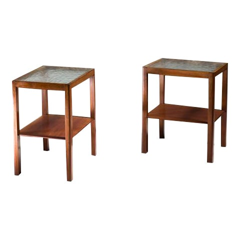 Thorald Madsen Pair of Mahogany Side Tables with Glass Top, Denmark, 1930s - Image 1 of 6