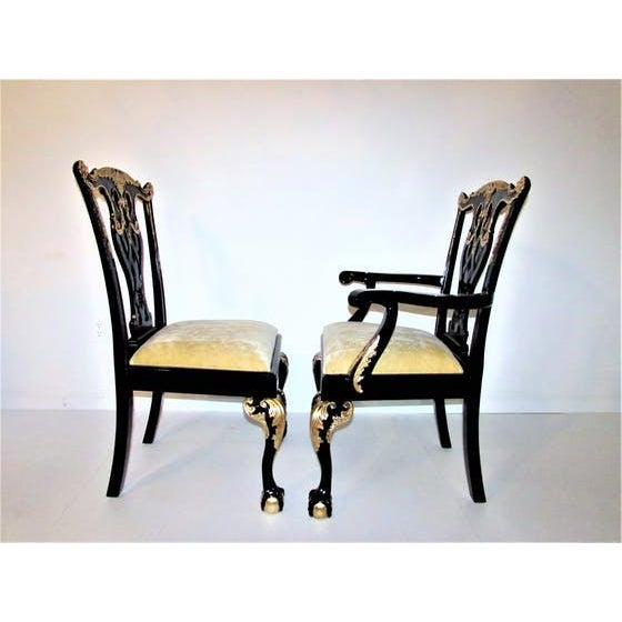 Black Lacquer Dining Room Chairs: Black Lacquer & Gilded Chippendale Dining Chairs