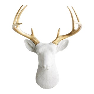 Wall Charmers Deer in White & Gold Antler
