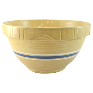 "Rustic 10"" Blue Stripe Yellow Ware Bowl"