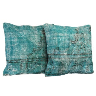Turquoise Overdyed Pillow Covers - A Pair