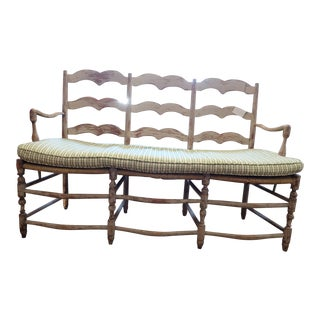 Charming French Distressed Bench with Cushion