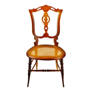 Victorian Oak Cane Seat Side Chair, Accent Chair