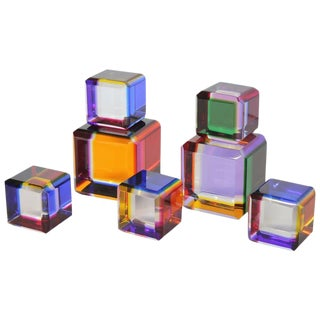 Collection of Five Lucite Cubes by Vasa Velizar Mihich