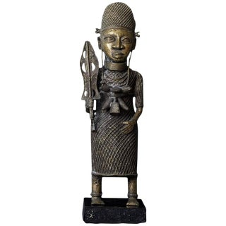 19th Century Benin Bronze Sculpture of a Warrior