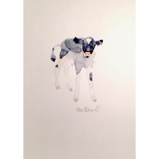 Contemporary Black & White Calf Watercolor Painting