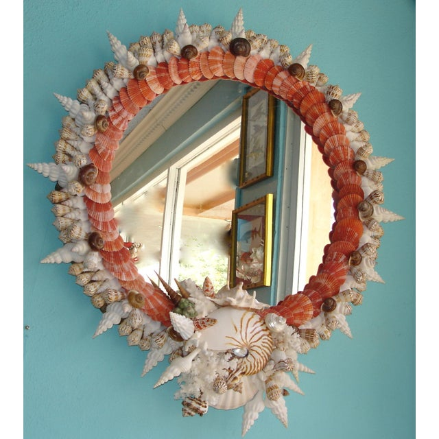 Red Pectin Shell Wreath Round Wall Mirror - Image 2 of 3