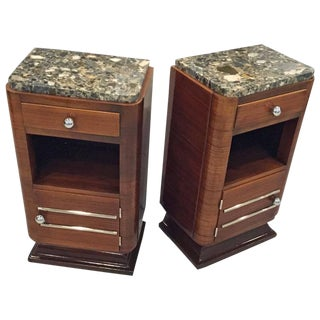 Circa 1930s French Art Deco Night Tables with Marble Tops