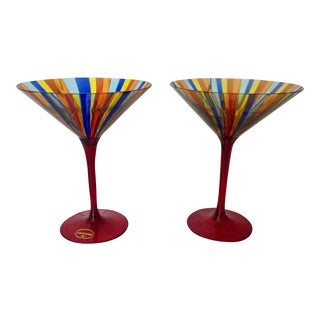 Murano Glass Stem Glasses - A Pair