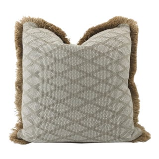 Jute Fringe Blue & Natural Diamond Cotton Weave Design Pillow