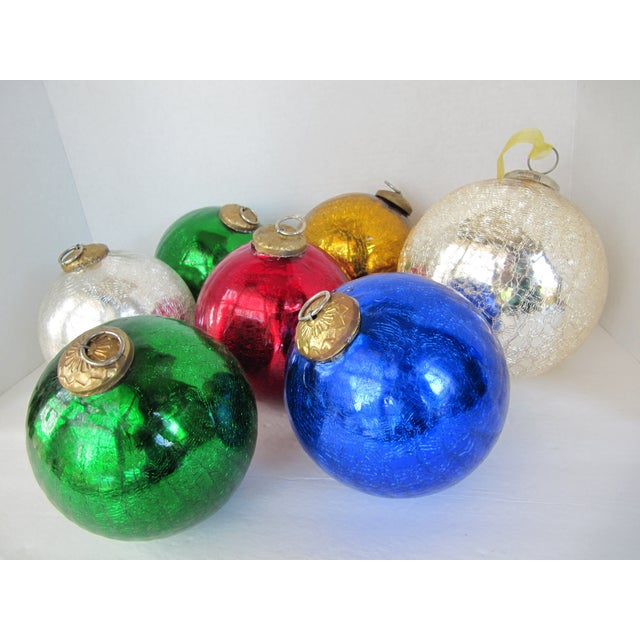 Colored Mercury Glass Ornaments - Set of 7 - Image 4 of 6