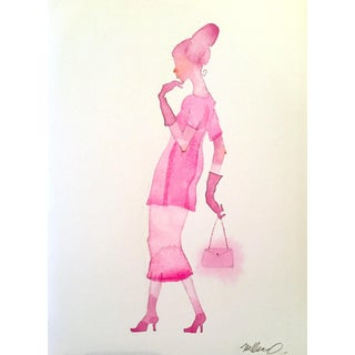 "Steve Klinkel ""Pink Lady 2"" Watercolor Painting"