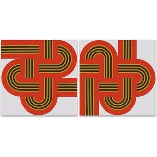 """""""Weave"""" Original 1970s Red XL Supergraphic Set"""
